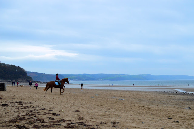 Horse riding on Saundersfoot beach, Pembrokeshire
