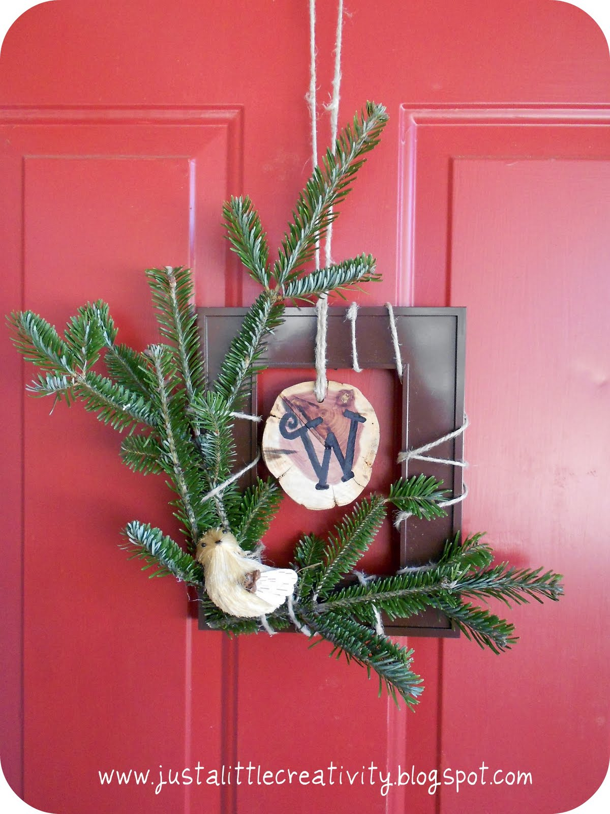 Rustic Winter Frame Initial Wreath Diy Crafting With Leftover Christmas Items