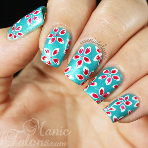 Freehand Tropical Flower Gel Polish Manicure