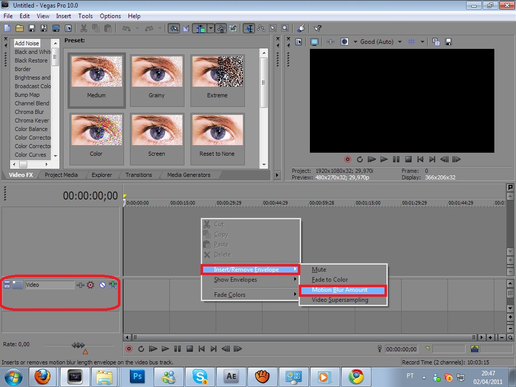 how to make motion blur in sony vegas