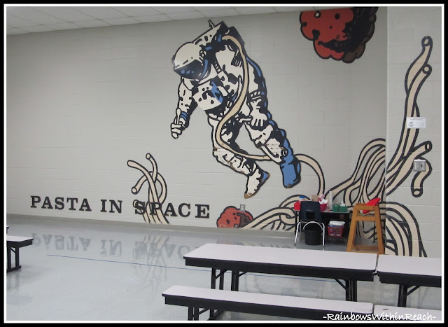 photo of: Mural in School Cafeteria Astronaut Theme