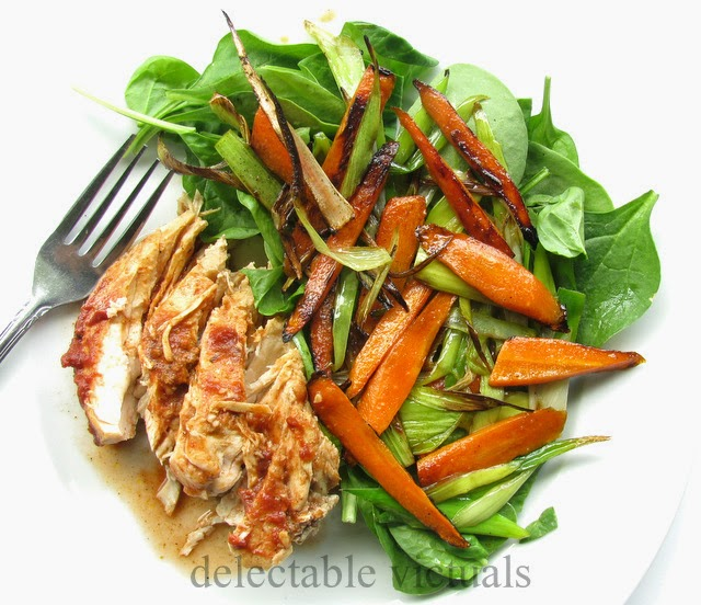 pan-seared carrots leeks spinach salad slow cooked chicken