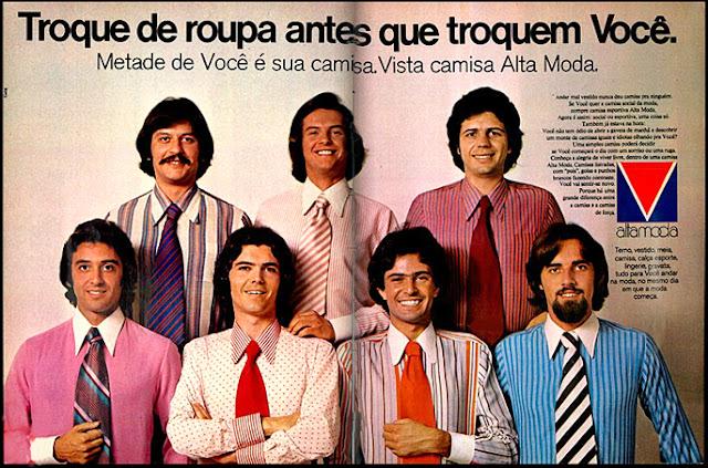 Propaganda da coleção de camisas da marca Alta Moda, apresentadas em 1972.