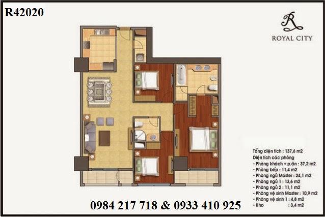Mua bán căn hộ chung cư Royal City, căn hộ R42020 chung cư Royal City giá tốt diện tích 137.6 m2 thiết kế đẹp 137.6 m2