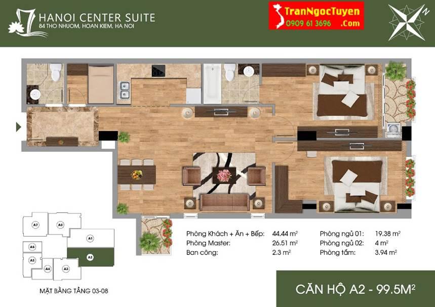 Thiết kế căn hộ A2 - 99.5m2