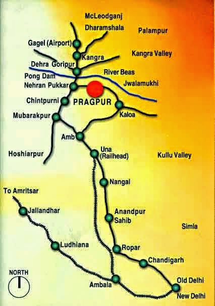 pragpur heritage village in kangra valley map