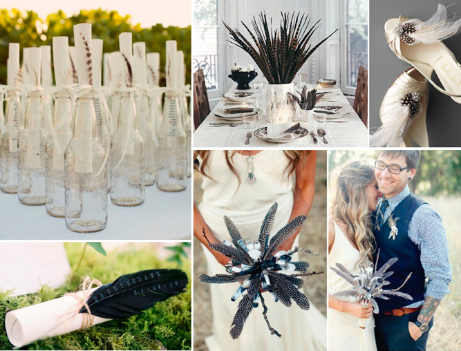 Feather topped bottles via Style Me Pretty feather centerpiece via Briton