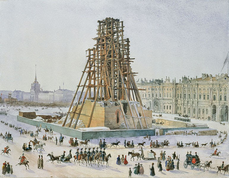The Alexander Column in scaffolds by Grigory Gagarin, 1832