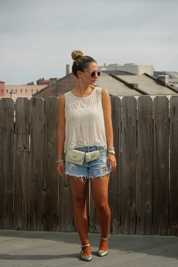 Cutoff Jean Shorts with Erin Dana Belt Bag & Sole Society Sheeba Flats