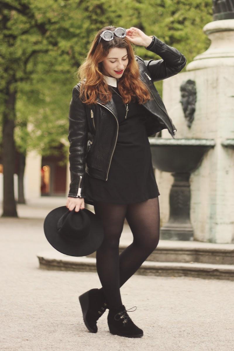 H+M black fedora hat