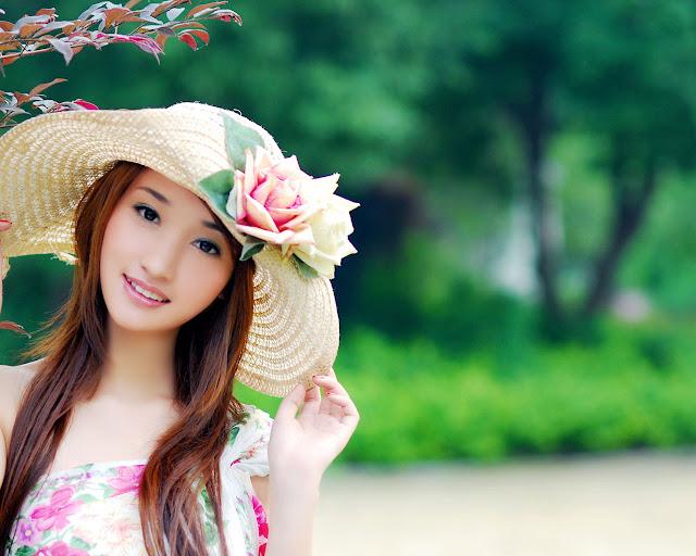 Lovely Girl in Colorful Garden