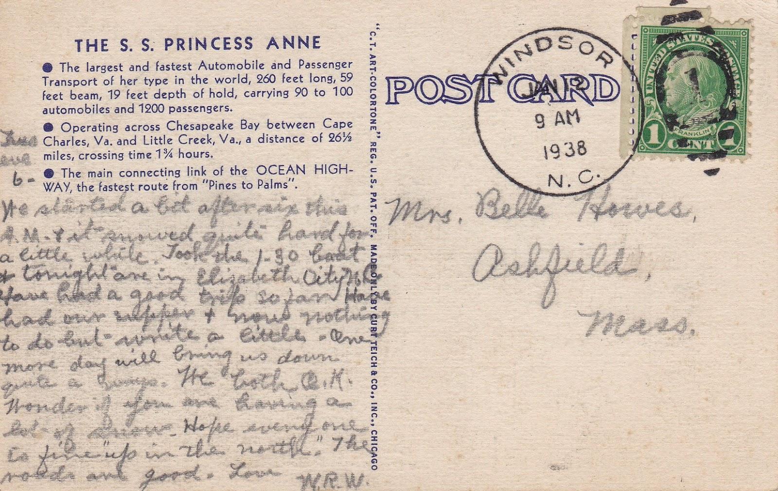 S.S. Princess Anne Vintage Linen Postcard
