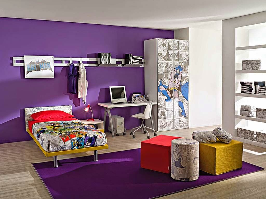 Bedroom Design Children Color Purple Kids Furniture Minimalist