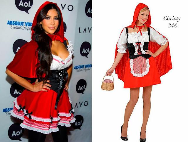 Kim Kardashian disfrazada de caperucita roja y disfraz caperucita roja de Christy