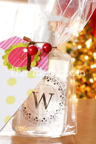 Monogrammed hand soap dispenser bottle