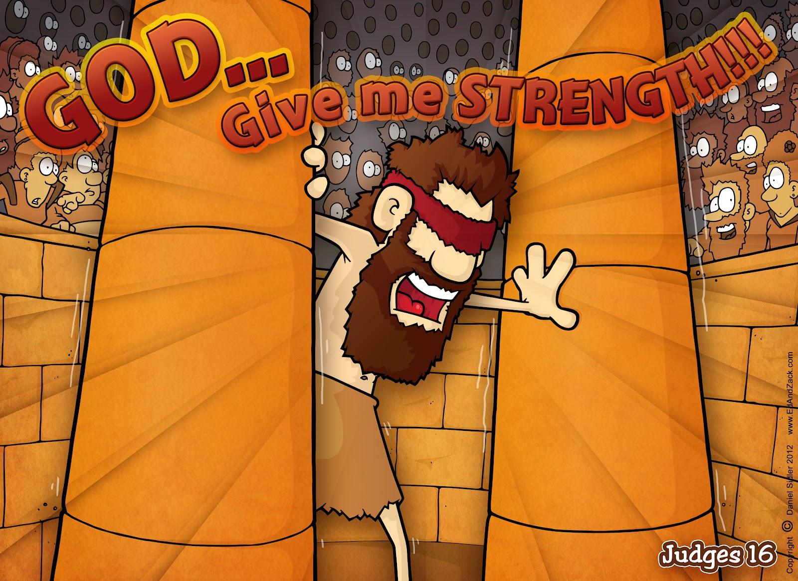 christian cartoon bible story illustrations samson u0027s strength