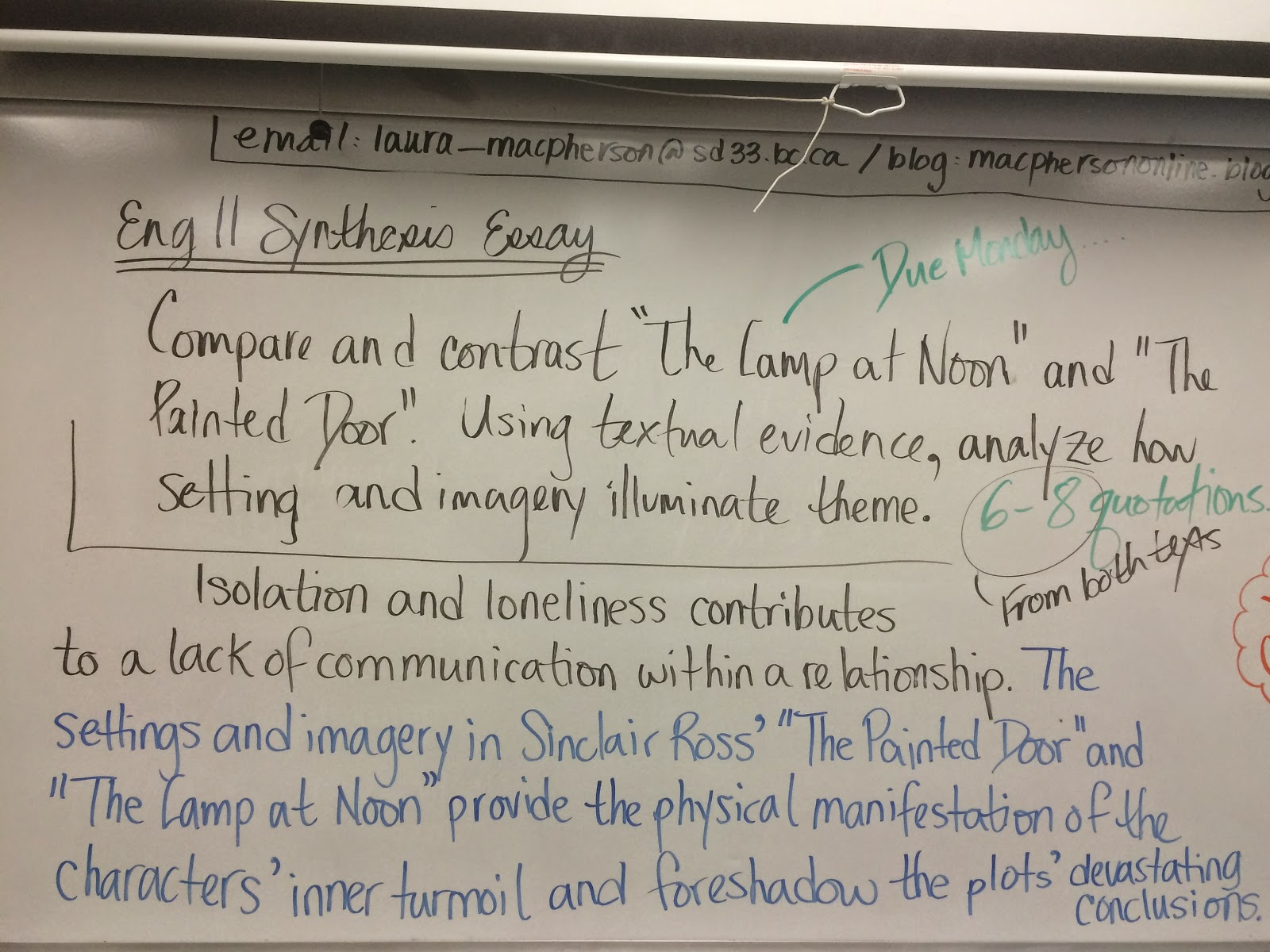 macpherson online 2015 begin writing synthesis essay due monday 2nd see yesterday s post for topic and criteria next week a separate peace novel study