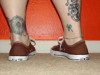 Clover and Flower Ankle Tattoo Design