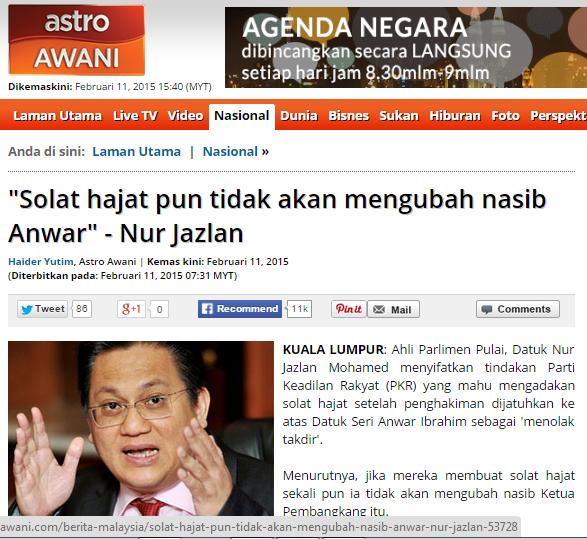 Solat hajat tidak akan mengubah nasib Anwar Ini jawapan dari Ustaz Ramlang buat Nur Jazlan