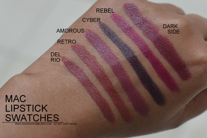 MAC Lipsticks Swatches Indian Darker Skin NC45 Makeup Beauty Blog Del Rio Retro Amorous Cyber Rebel Dark Side
