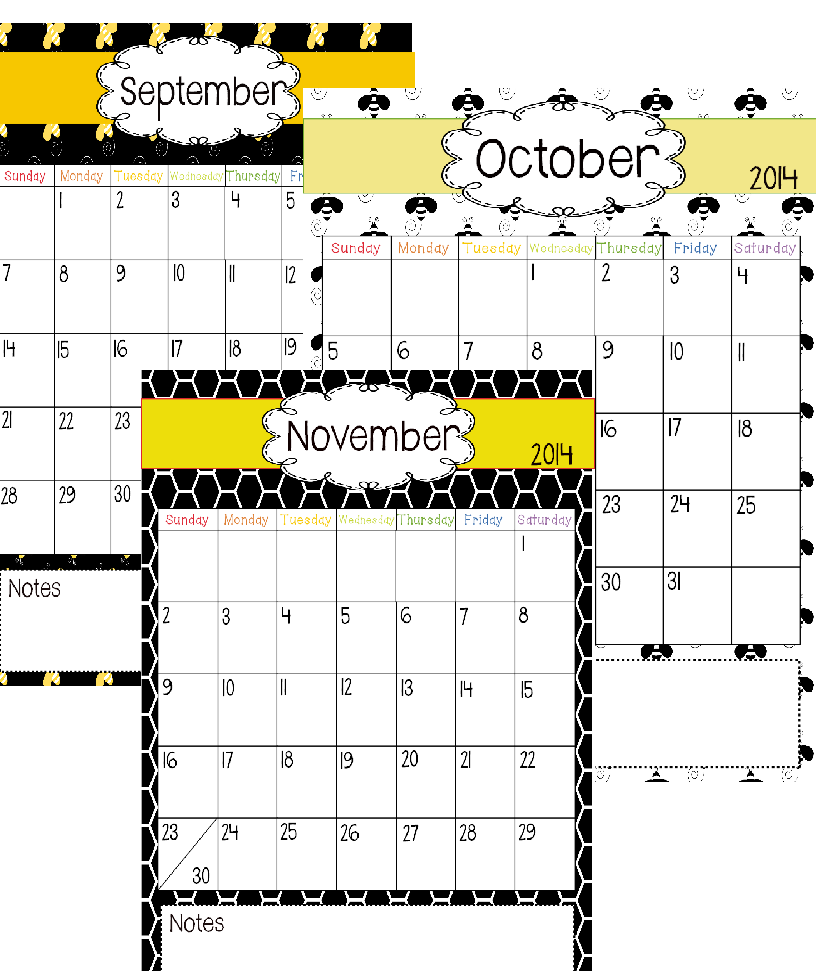 http://www.teacherspayteachers.com/Product/Bee-Themed-Calendar-1348920