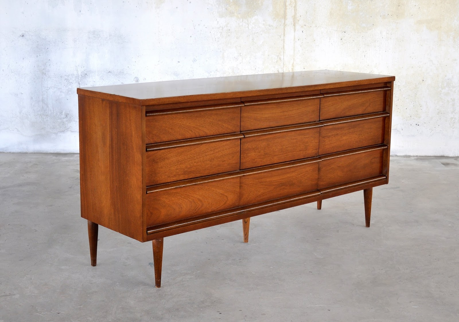 select modern mid century triple dresser credenza