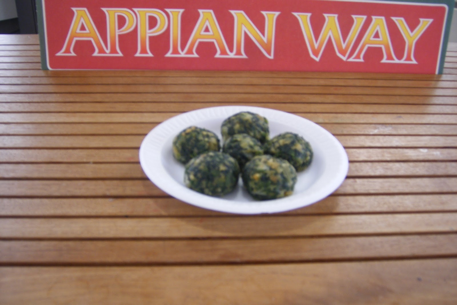 Seasoned Spinach Balls made by Kathy