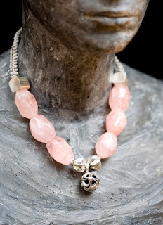 Rose quartz necklace by Barbara Acton Bond