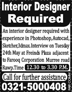 An Interior Designer Required In Rawalpindi