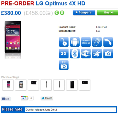 LG Optimus 4X HD Available For Pre-Order In The UK Via Clove
