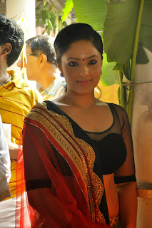 Nikesha Patel looks Beautiful in Saree with Iniya at Tamil Movie Kariyoram Launch Chennai