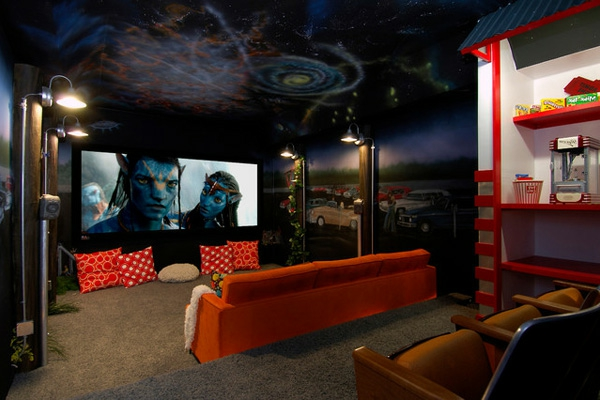 creative home theater design ideas - theme for kids