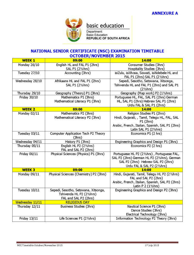 Camps bay high school cbhs matric exam timetable oct for Rtu time table 4 th sem 2015