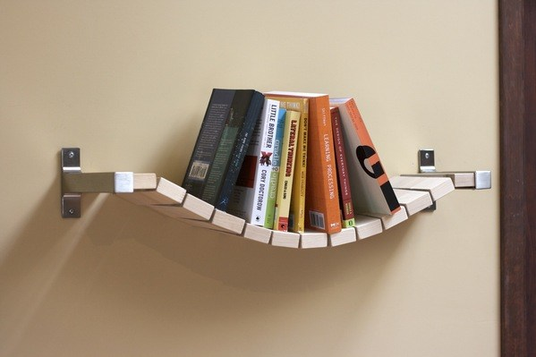 A Bookshelf With a Rope Bridge Look