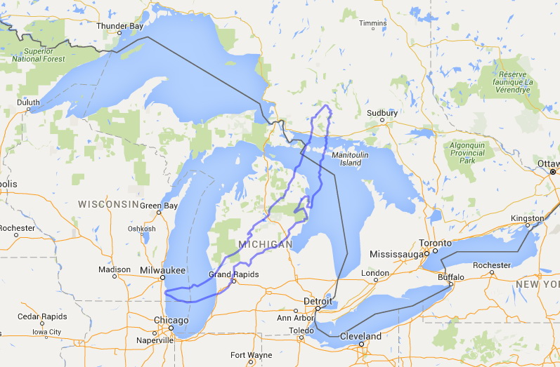 Size comparison between Lake Baikal and the Great Lakes
