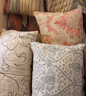 Melissa White painted sack cushions
