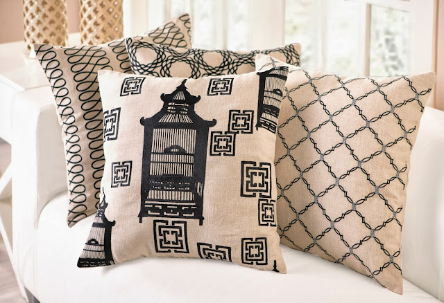 Black COCOCOZY Embroidered Pillows in Loop, Birdcage Toile and Kip