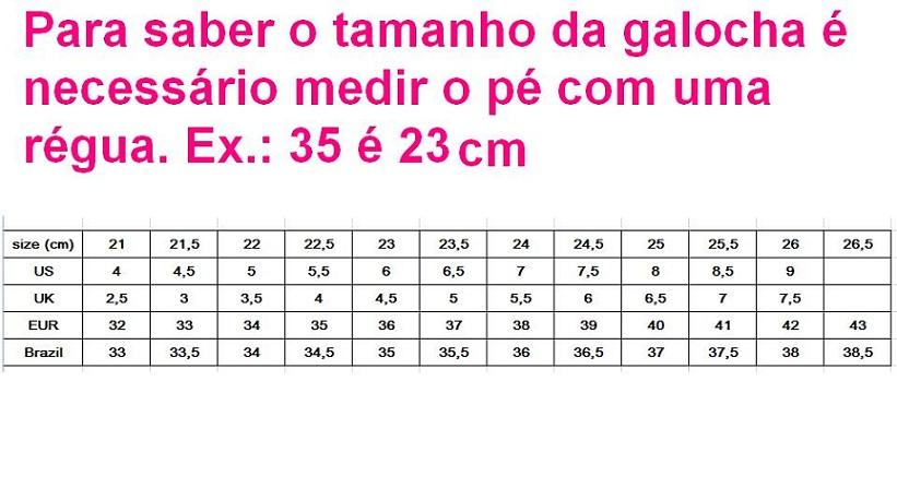 Tamanho das galochas em cm x Brasil
