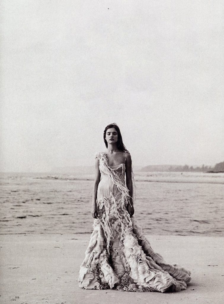 Natalia Vodianova in McQueen by Peter Lindbergh for Harpers Bazaar US March 2003