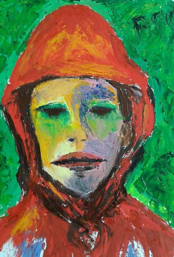 retrato con capucha roja