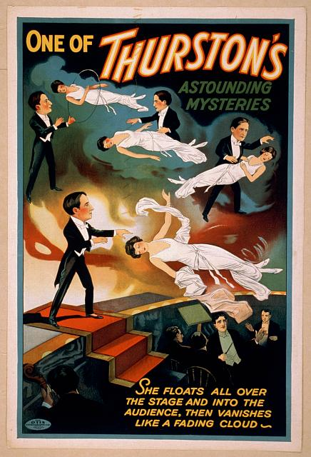 printables, circus, classic posters, free download, graphic design, magic, retro prints, vintage, vintage posters, One of Thurston's Astounding Mysteries - Vintage Magic Poster