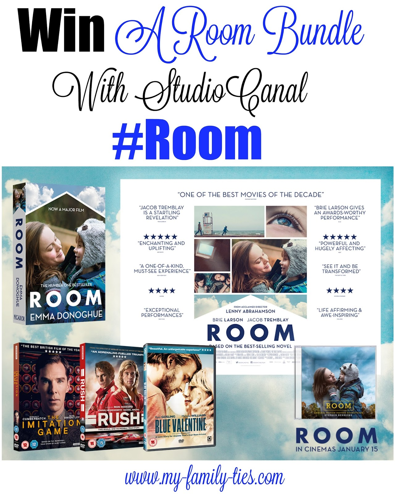 Giveaway Competition To Win Room By Emma Donoghue Merchandise From The Award Winning Movie Released January 2015, Competition with StudioCanal and My Family Ties Blog