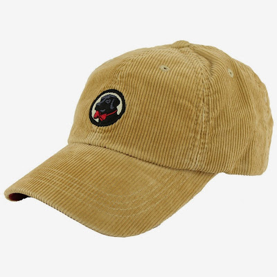 Corduroy Frat Hat in Khaki with Black Lab by Southern Proper