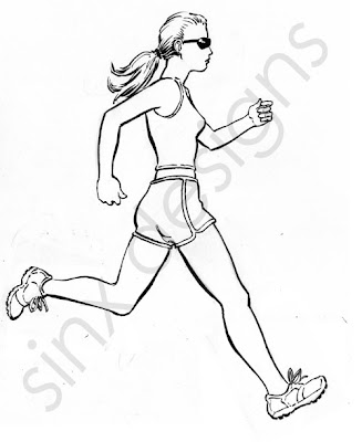 girl running or jogging drawing