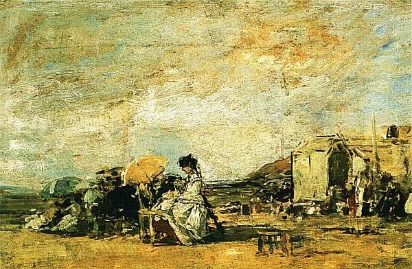 Эжен Буден. Пляж в Трувиле. Ок. 1863.