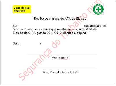 Recibo de Ata de Eleição CIPA