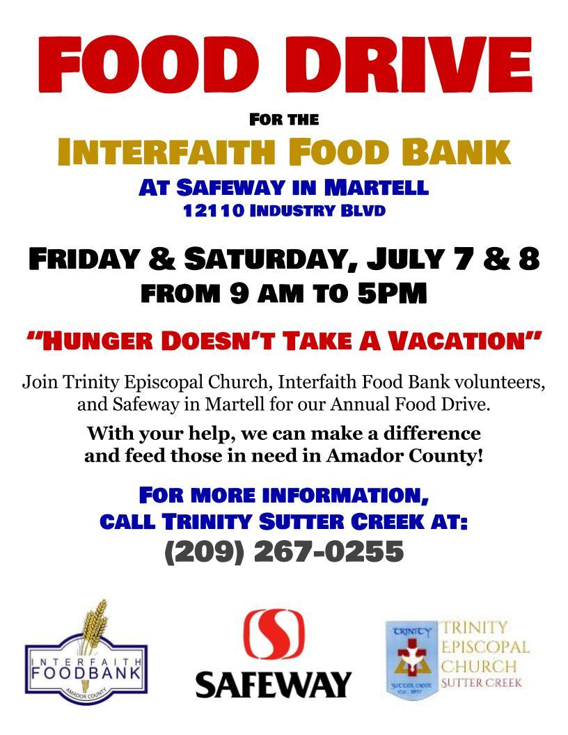 Interfaith Food Bank Food Drive - July 7 & 8