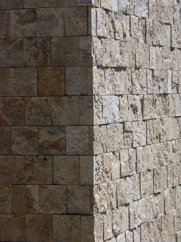 The Getty Museum - a stone corner with shadow
