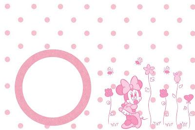 Imprimibles gratis de Minnie Mouse en rosa con flores y lunares