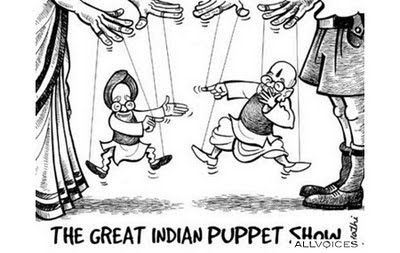 Funny Indian Political Cartoon - Manmohan and Advani are Puppets